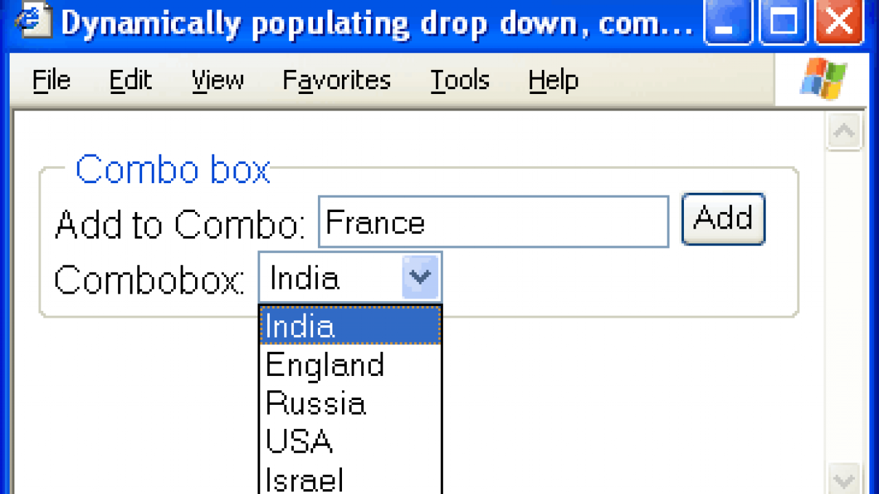 Dynamic combobox-listbox-drop-down using javascript  Javascript to