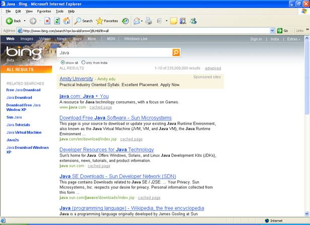 bing-java-search