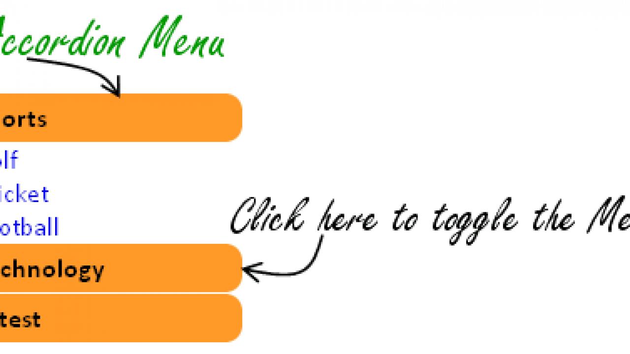 Accordion Menu: Create Simplest Accordion Menu using jQuery