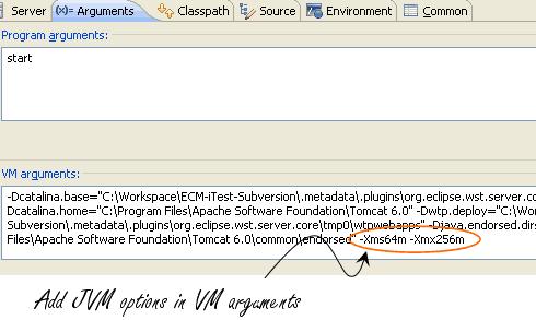 Setting Tomcat Heap Size (JVM Heap) in Eclipse  Heap Size