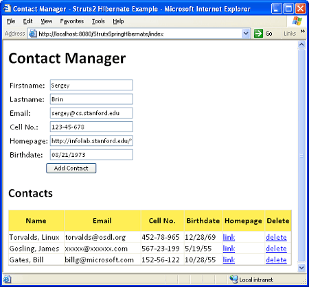 struts2-hibernate-contact-manager