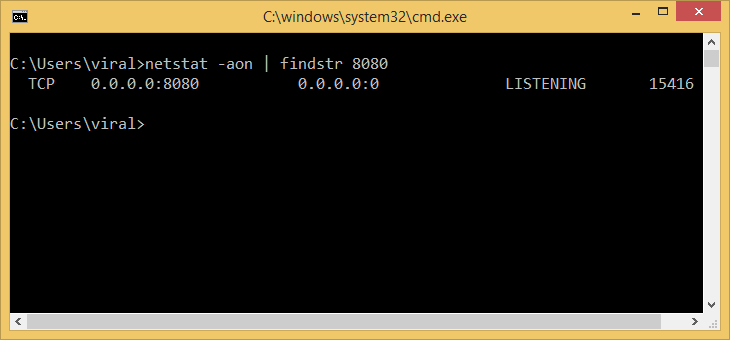 find process id by port number windows