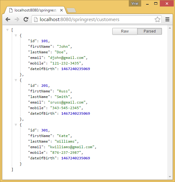 Spring 4 MVC REST Controller Service Example (JSON CRUD Tutorial)
