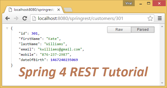 Spring 4 MVC REST Controller Service Example (JSON CRUD