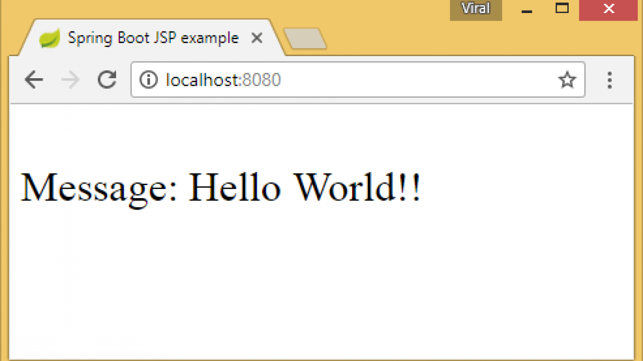 Spring Boot JSP Hello World Tutorial with Example - ViralPatel net