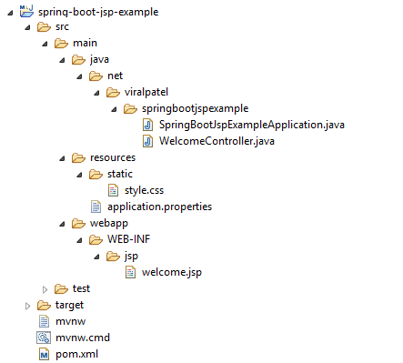 spring boot jsp example project structure