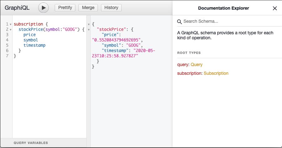 Spring Boot GraphQL Subscription GraphiQL Editor