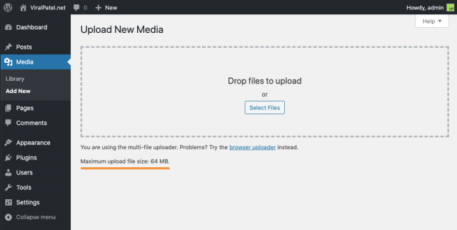 wordpress max file upload size docker image