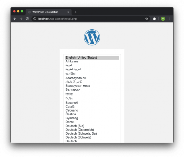 local wordpress docker installation