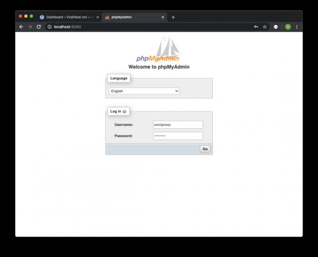 phpmyadmin docker login page