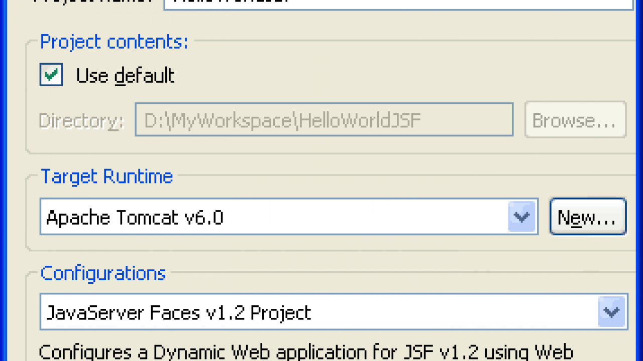 Tutorial: Creating JavaServer Faces JSF application in Eclipse  JSF