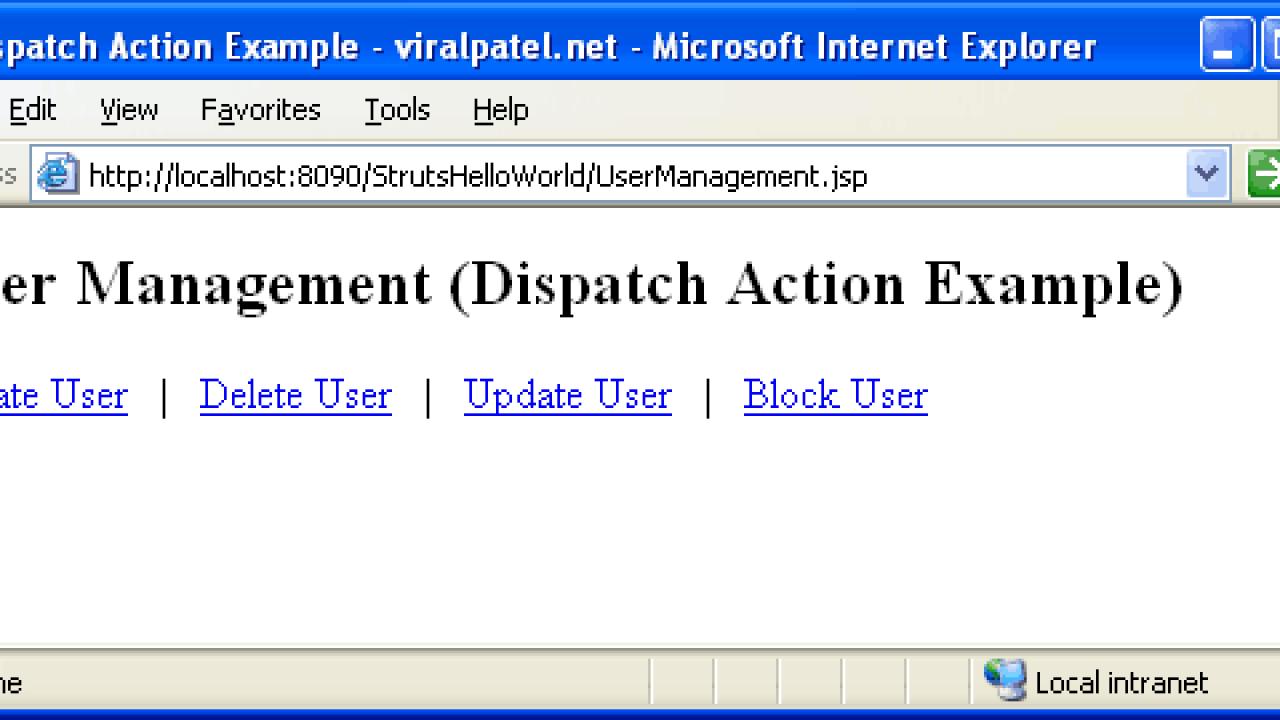 Struts Dispatch Action tutorial,Struts DispatchAction