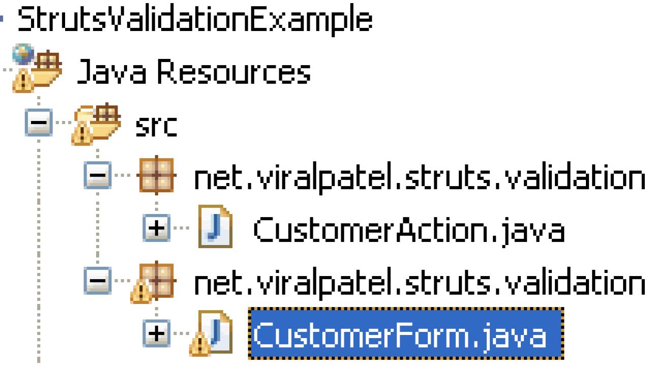 Struts Validation Framework Tutorial & example Form